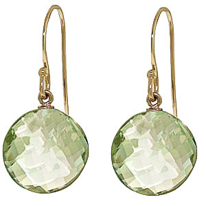 Green Amethyst Chequer Drop Earrings 12 ctw in 9ct Gold