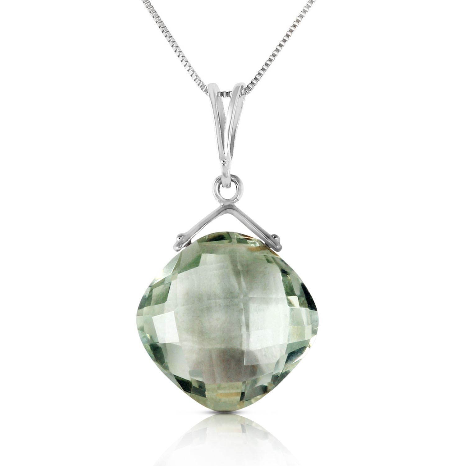 Green Amethyst Cushion Pendant Necklace 8.75 ct in 9ct White Gold