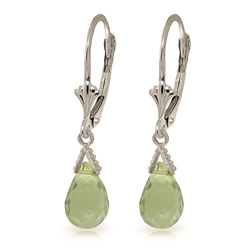 Green Amethyst Droplet Earrings 5 ctw in 9ct White Gold