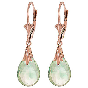 Green Amethyst Droplet Earrings 6 ctw in 9ct Rose Gold
