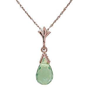 Green Amethyst Droplet Pendant Necklace 2.5 ct in 9ct Rose Gold