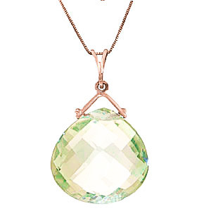 Green Amethyst Elliptical Pendant Necklace 8.5 ct in 9ct Rose Gold