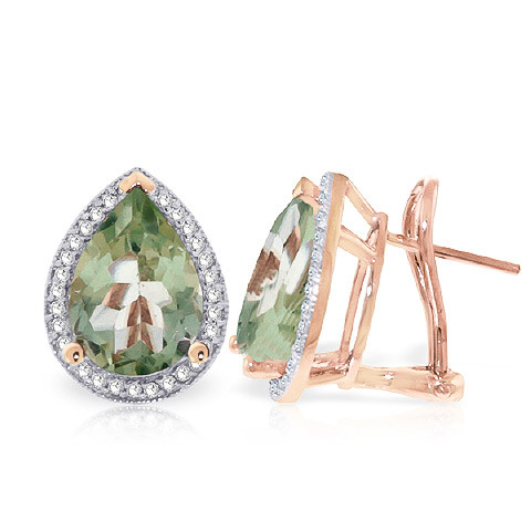 Green Amethyst French Clip Earrings 6.82 ctw in 9ct Rose Gold