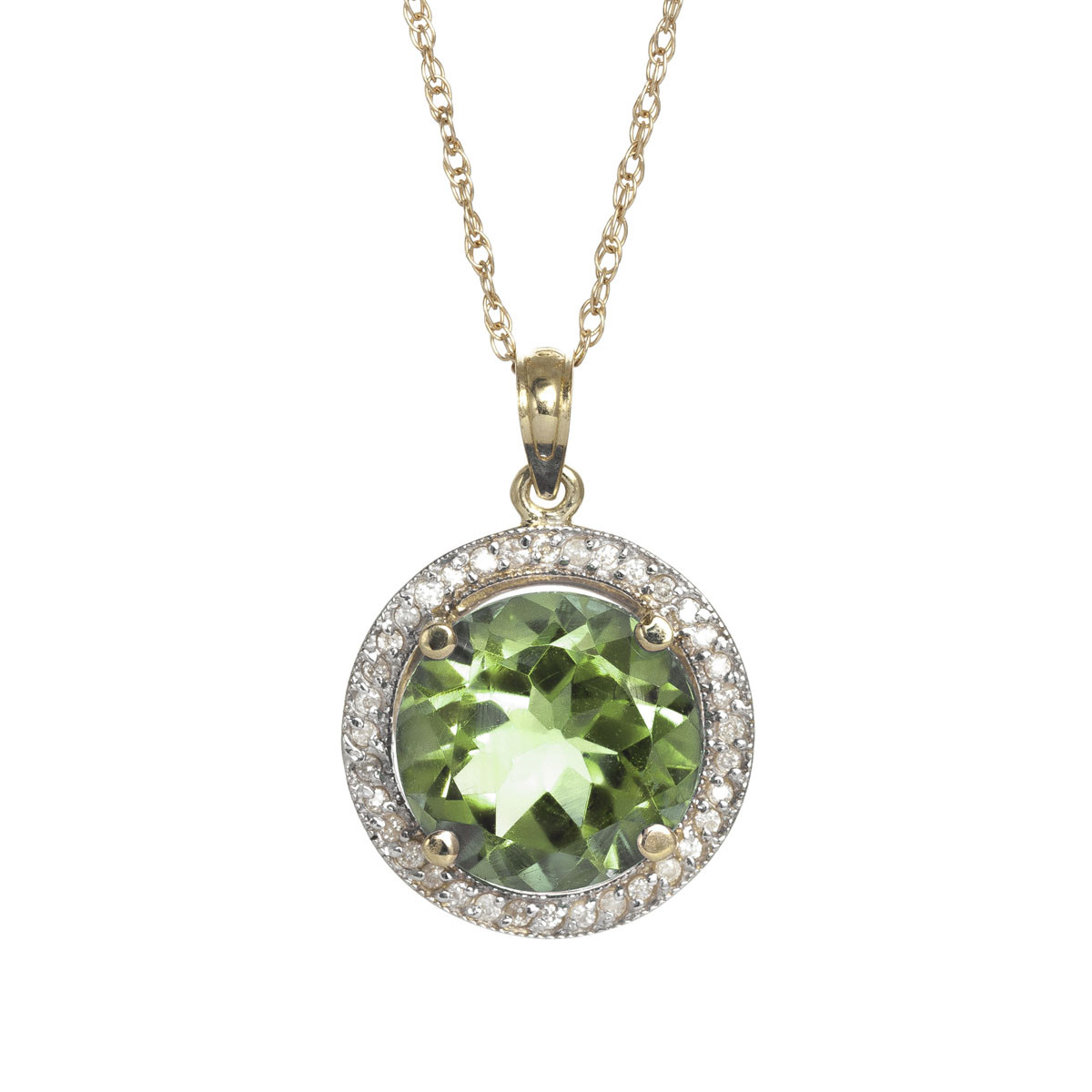Green Amethyst Halo Pendant Necklace 5.2 ctw in 9ct Gold