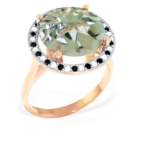 Green Amethyst Halo Ring 5.2 ctw in 9ct Rose Gold