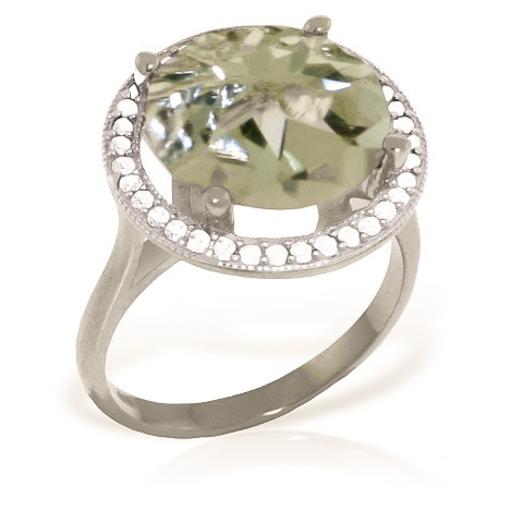 Green Amethyst Halo Ring 5.2 ctw in 9ct White Gold