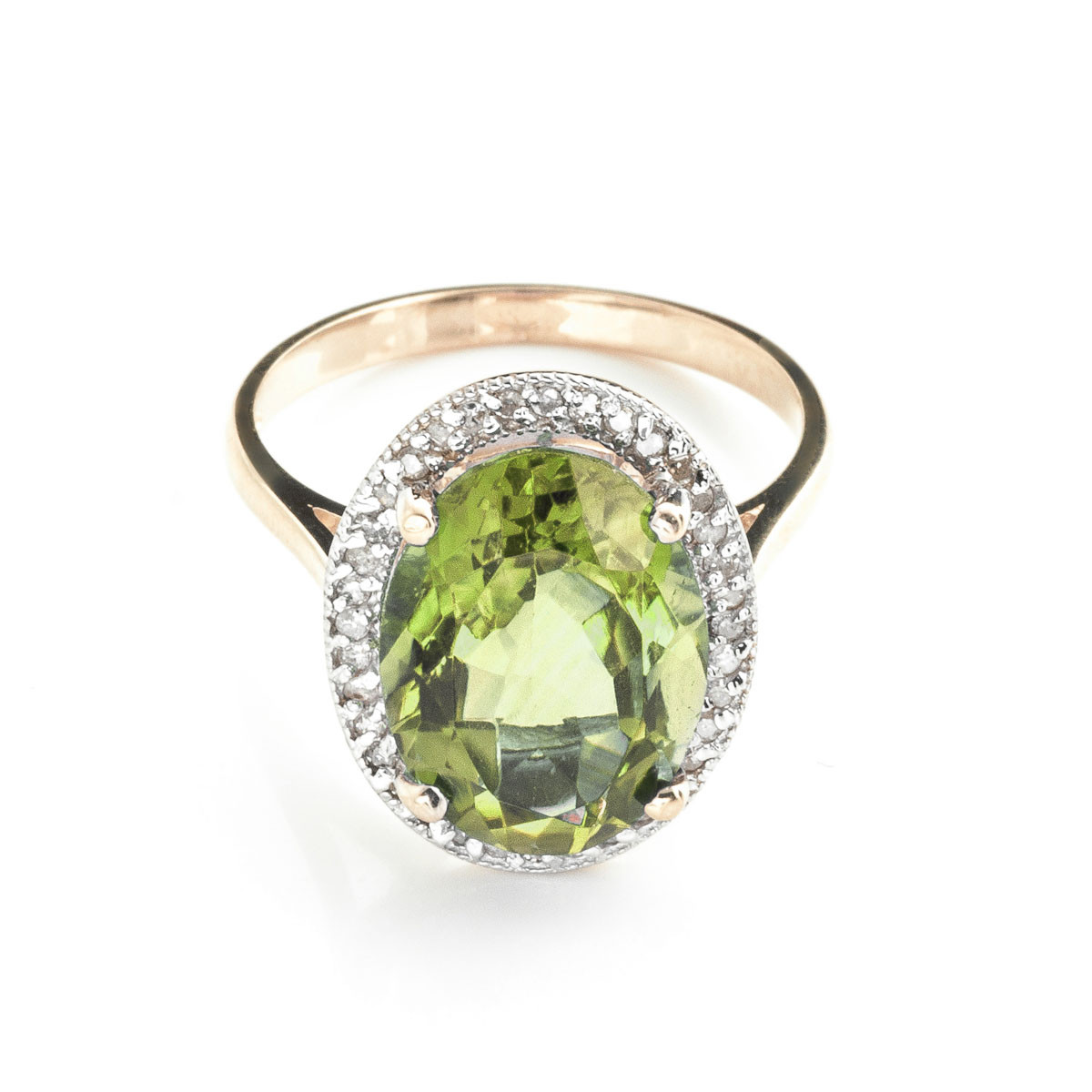 Green Amethyst Halo Ring 5.28 ctw in 9ct Rose Gold