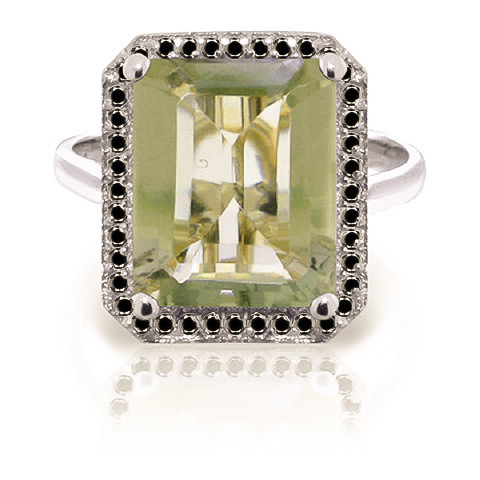 Green Amethyst Halo Ring 5.8 ctw in 9ct White Gold