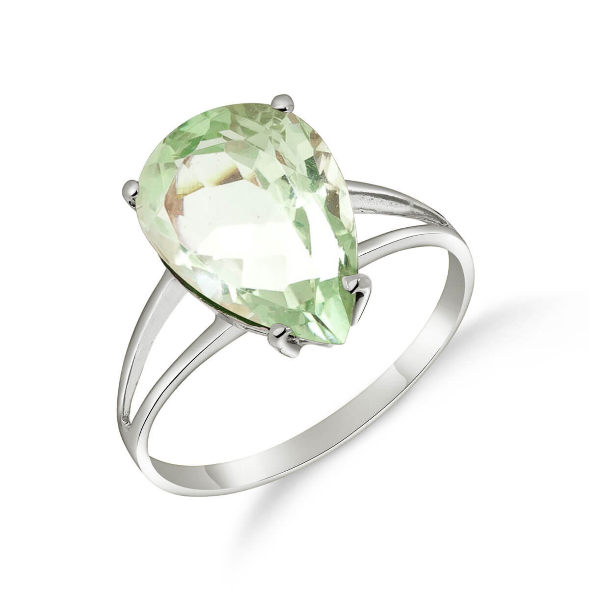 Green Amethyst Pear Drop Ring 5 ct in 9ct White Gold