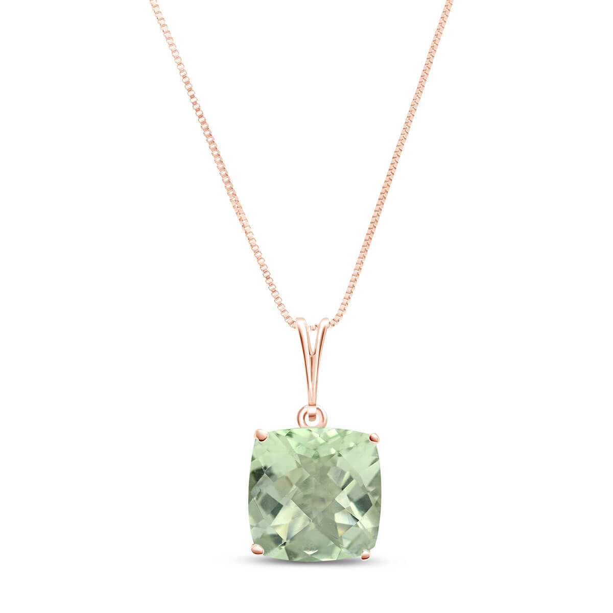 Green Amethyst Rococo Pendant Necklace 3.6 ct in 9ct Rose Gold