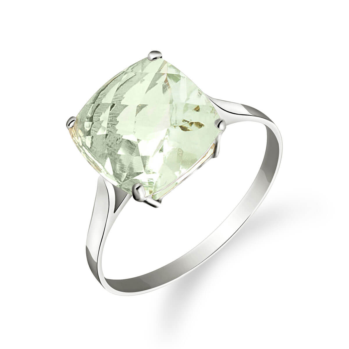 Green Amethyst Rococo Ring 3.6 ct in 9ct White Gold