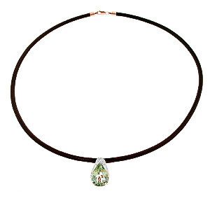 Green Amethyst Snowcap Leather Pendant Necklace 6 ct in 9ct Rose Gold