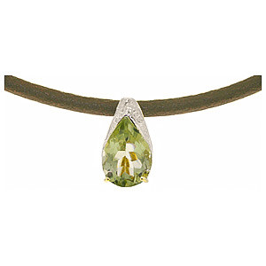 Green Amethyst Snowcap Leather Pendant Necklace 6 ct in 9ct White Gold