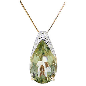 Green Amethyst Snowcap Pendant Necklace 5 ct in 9ct Gold