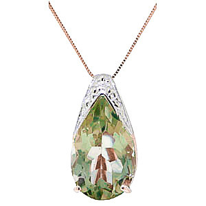 Green Amethyst Snowcap Pendant Necklace 5 ct in 9ct Rose Gold