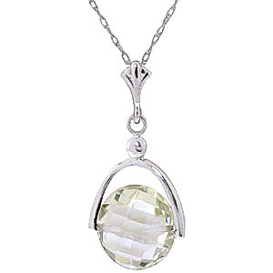 Green Amethyst Sparkler Drop Pendant Necklace 3.25 ct in 9ct White Gold