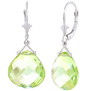 Green Amethyst Star Drop Earrings 17 ctw in 9ct White Gold