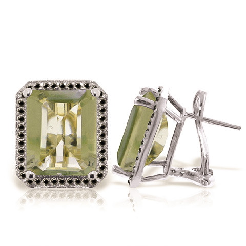 Green Amethyst Stud French Clip Halo Earrings 11.6 ctw in 9ct White Gold