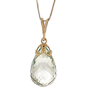 Green Amethyst Tiara Pendant Necklace 7 ct in 9ct Gold
