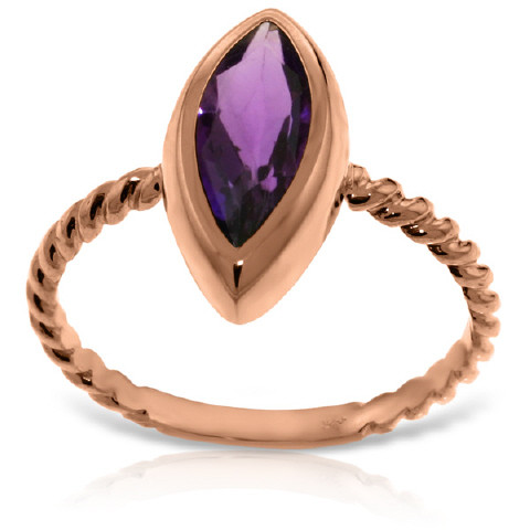 Marquise Cut Amethyst Ring 1.7 ct in 9ct Rose Gold