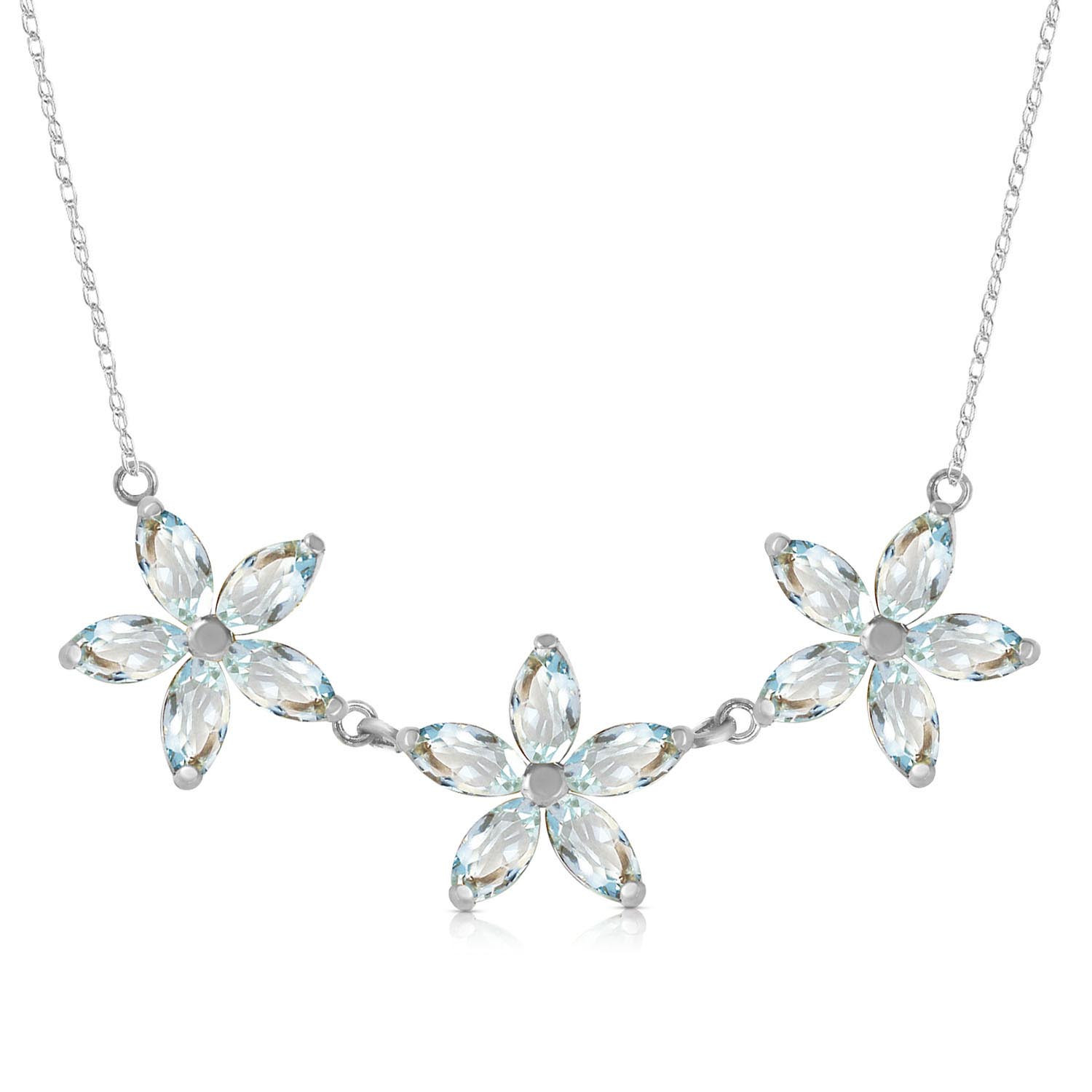 Marquise Cut Aquamarine Pendant Necklace 4.2 ctw in 9ct White Gold