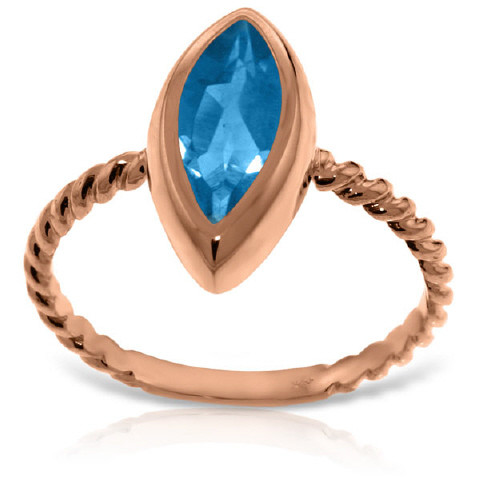 Marquise Cut Blue Topaz Ring 2.5 ct in 9ct Rose Gold