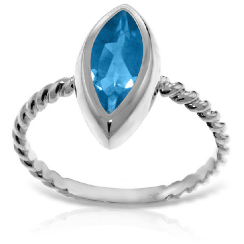 Marquise Cut Blue Topaz Ring 2.5 ct in 9ct White Gold