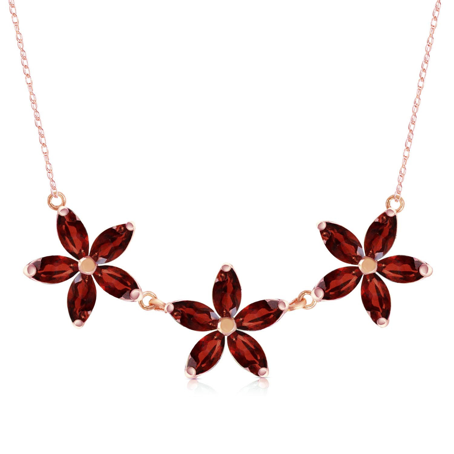 Marquise Cut Garnet Pendant Necklace 4.2 ctw in 9ct Rose Gold