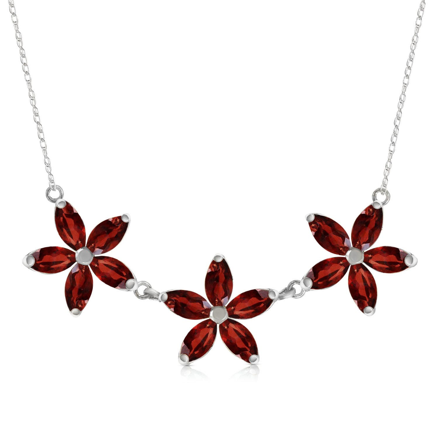 Marquise Cut Garnet Pendant Necklace 4.2 ctw in 9ct White Gold