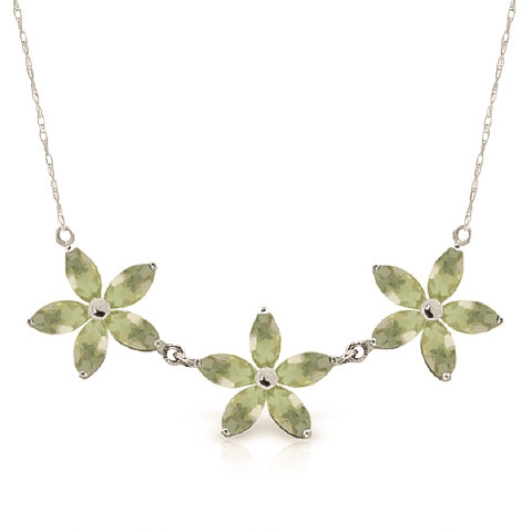 Marquise Cut Green Amethyst Pendant Necklace 4.2 ctw in 9ct White Gold