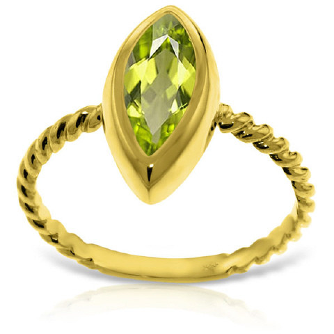 Marquise Cut Peridot Ring 2 ct in 9ct Gold