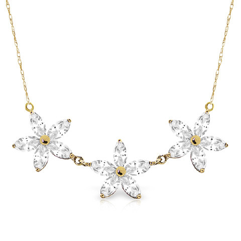Marquise Cut White Topaz Pendant Necklace 4.75 ctw in 9ct Gold