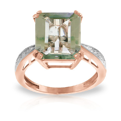 Octagon Cut Green Amethyst Ring 5.62 ctw in 9ct Rose Gold