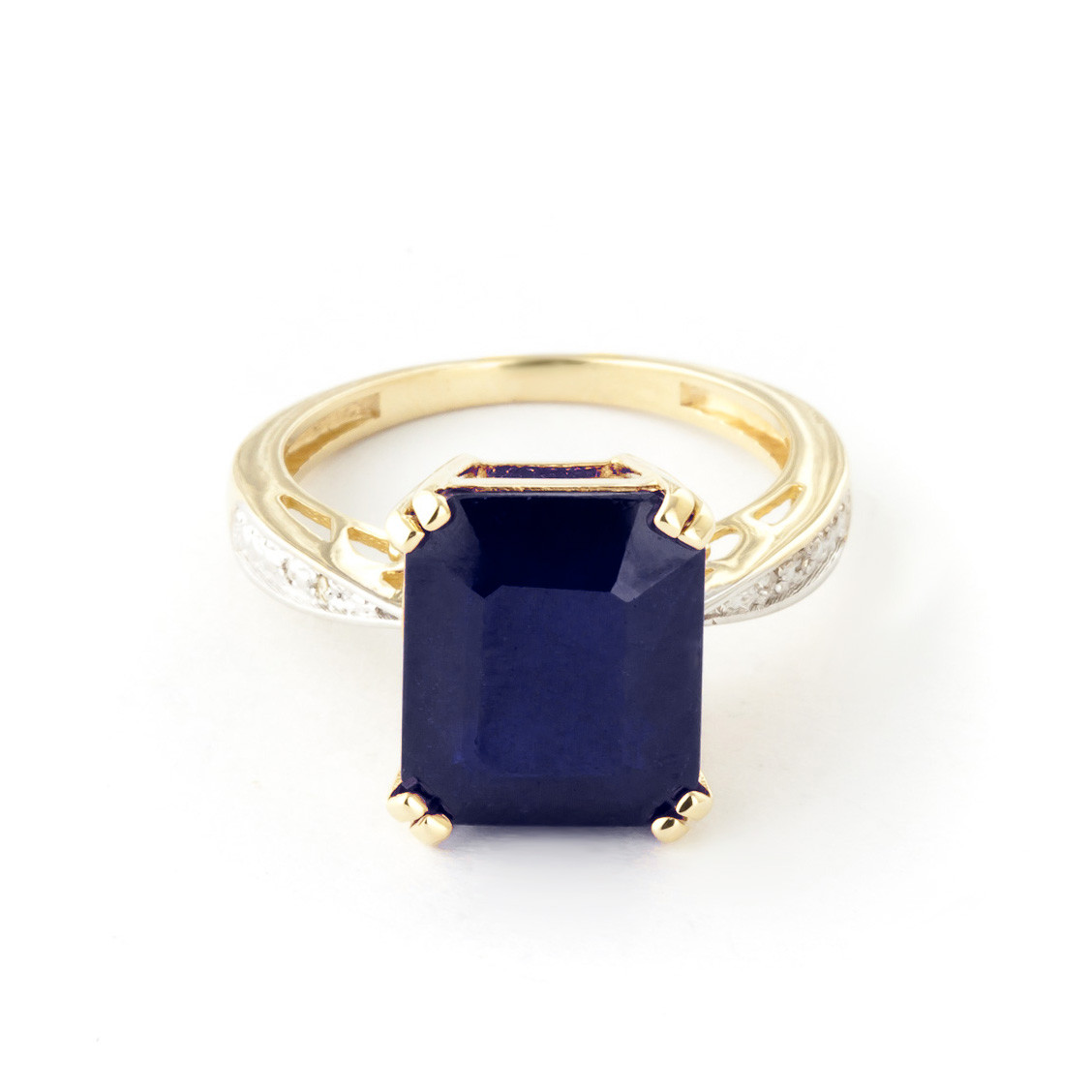 Octagon Cut Sapphire Ring 7.27 ctw in 9ct Gold