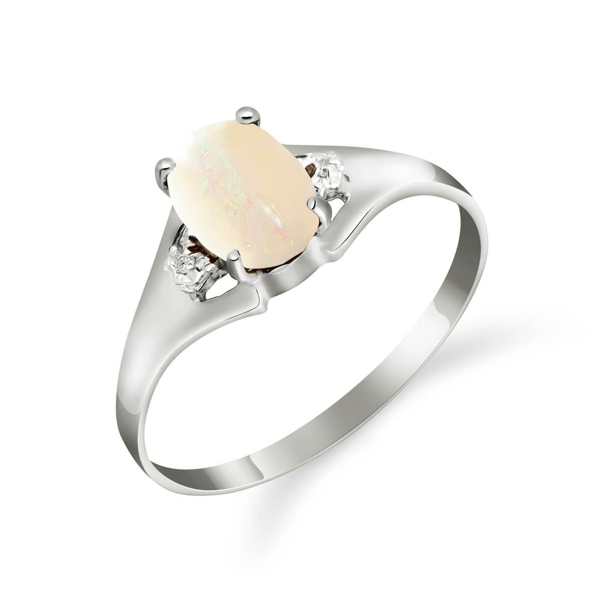 Opal & Diamond Desire Ring in 9ct White Gold