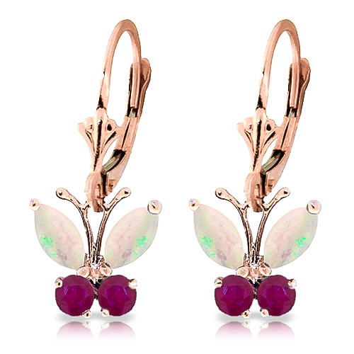Opal & Ruby Butterfly Drop Earrings in 9ct Rose Gold