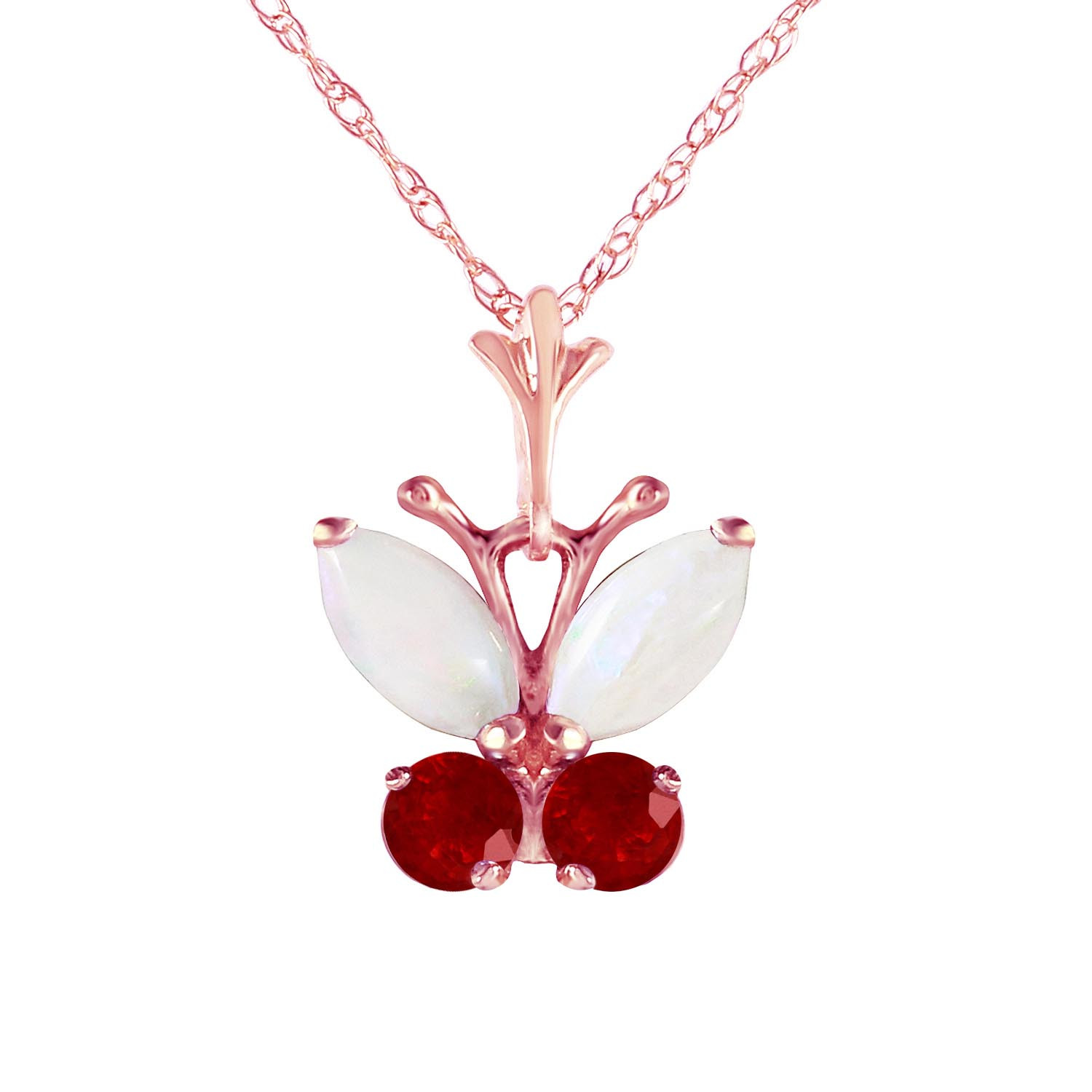 Opal & Ruby Butterfly Pendant Necklace in 9ct Rose Gold