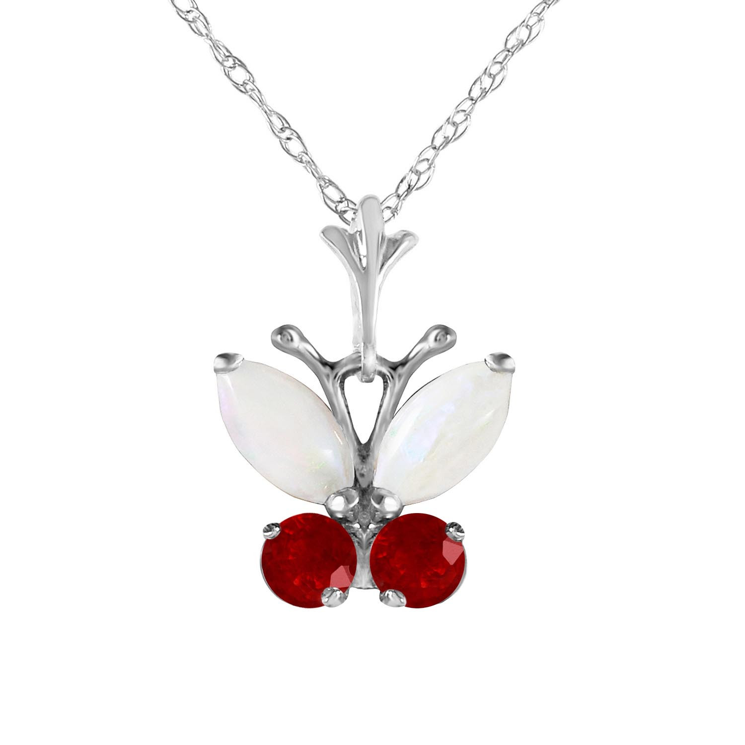 Opal & Ruby Butterfly Pendant Necklace in 9ct White Gold
