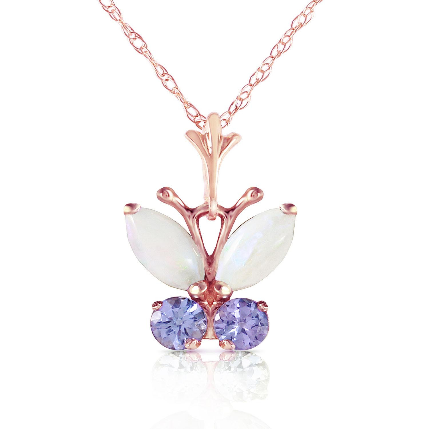 Opal & Tanzanite Butterfly Pendant Necklace in 9ct Rose Gold