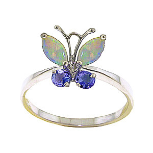 Opal & Tanzanite Butterfly Ring in 9ct Gold