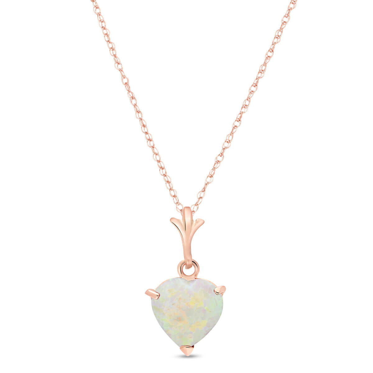 Opal Heart Pendant Necklace 0.65 ct in 9ct Rose Gold
