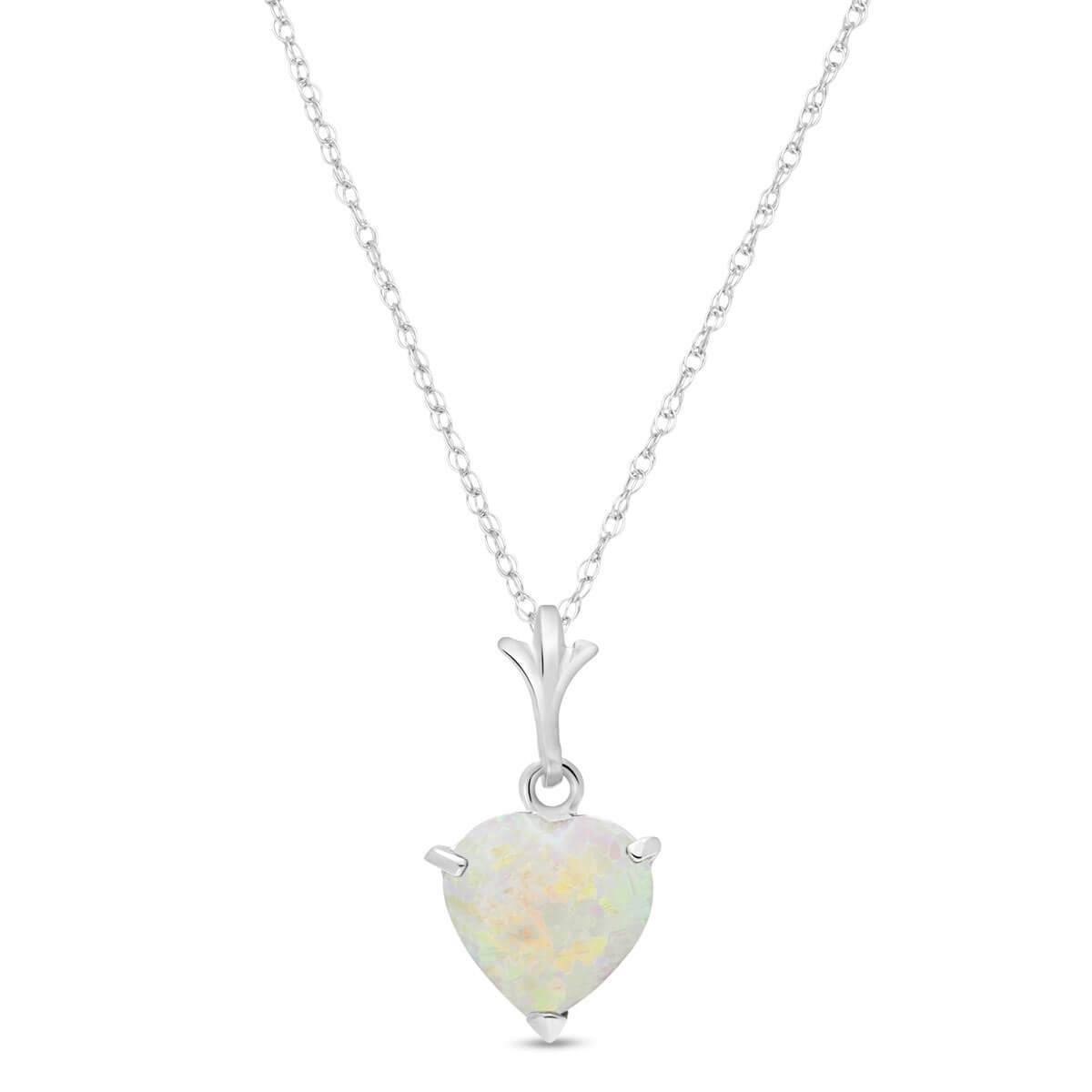 Opal Heart Pendant Necklace 0.65 ct in 9ct White Gold