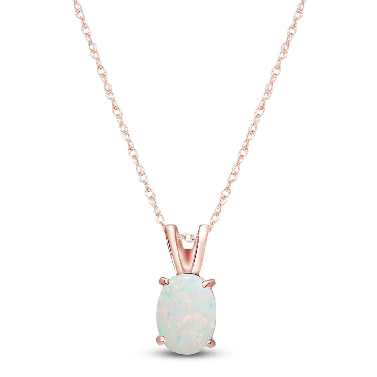 Opal Oval Pendant Necklace 0.45 ct in 9ct Rose Gold