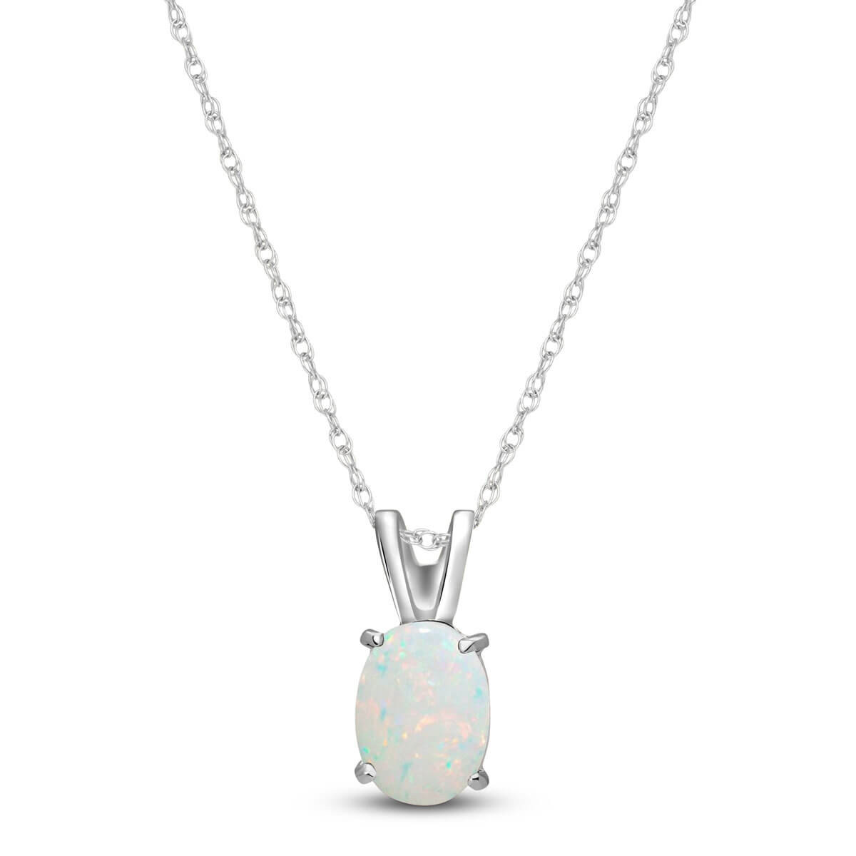 Opal Oval Pendant Necklace 0.45 ct in 9ct White Gold