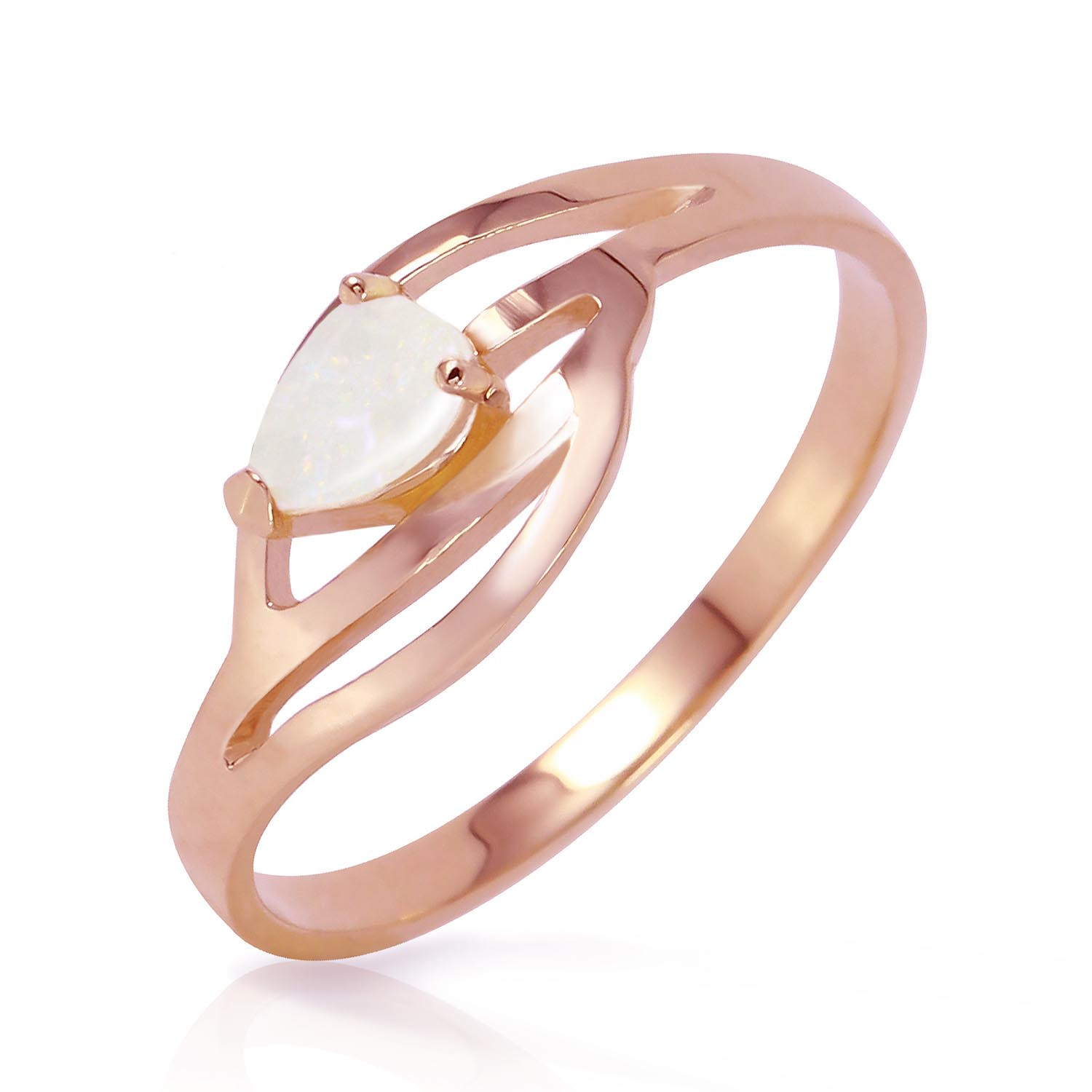 Opal Pear Strand Ring 0.15 ct in 18ct Rose Gold