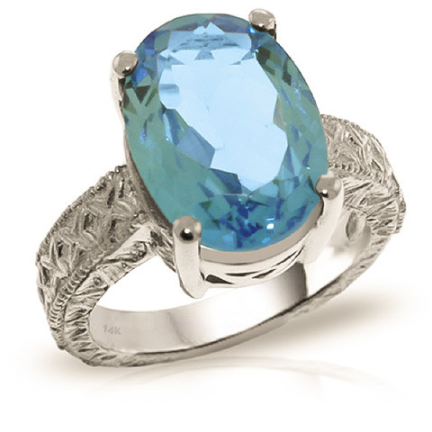 Oval Cut Blue Topaz Ring 8 ct in 9ct White Gold