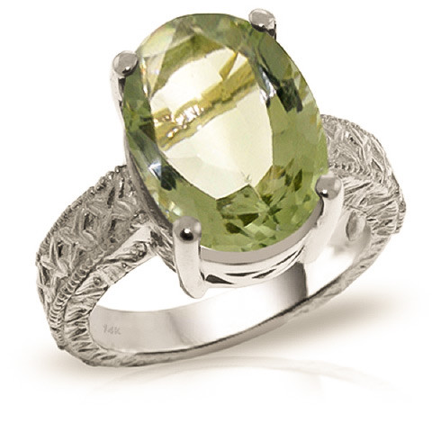 Oval Cut Green Amethyst Ring 7.5 ct in 9ct White Gold