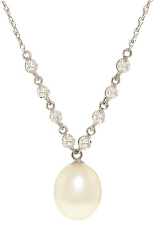 Oval Cut Pearl Pendant Necklace 4.8 ctw in 9ct White Gold