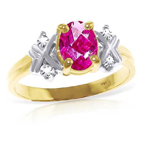 Oval Cut Pink Topaz Ring 0.97 ctw in 9ct Gold