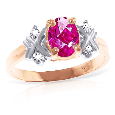 Oval Cut Pink Topaz Ring 0.97 ctw in 9ct Rose Gold